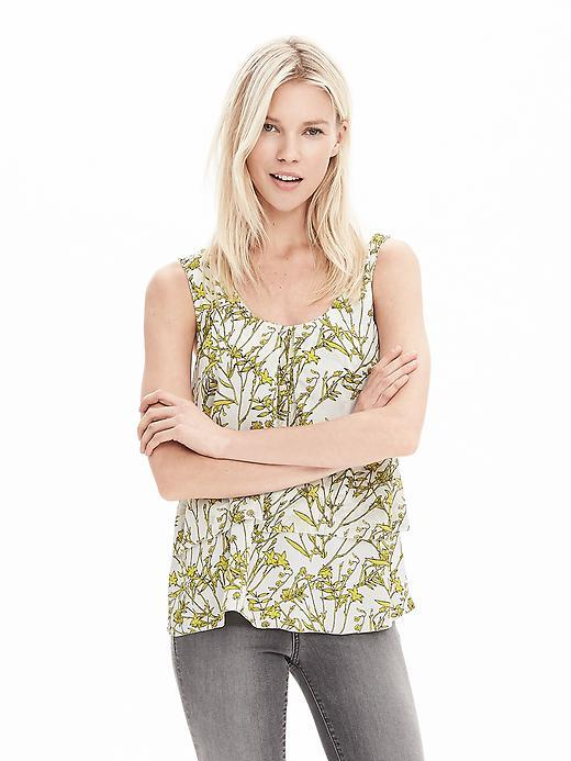 Tiered Sleeveless Top Bright Celery - sleeve style: standard vest straps/shoulder straps; style: vest top; predominant colour: ivory/cream; secondary colour: lime; occasions: casual; length: standard; neckline: scoop; fibres: polyester/polyamide - 100%; fit: straight cut; sleeve length: sleeveless; pattern type: fabric; pattern size: standard; pattern: florals; texture group: woven light midweight; season: a/w 2015; wardrobe: highlight