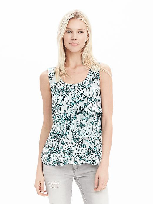 Tiered Sleeveless Top Antarctic Blue - neckline: round neck; sleeve style: sleeveless; style: vest top; waist detail: belted waist/tie at waist/drawstring; predominant colour: white; secondary colour: dark green; occasions: casual; length: standard; fibres: polyester/polyamide - 100%; fit: body skimming; sleeve length: sleeveless; pattern type: fabric; pattern: florals; texture group: other - light to midweight; multicoloured: multicoloured; season: a/w 2015; wardrobe: highlight