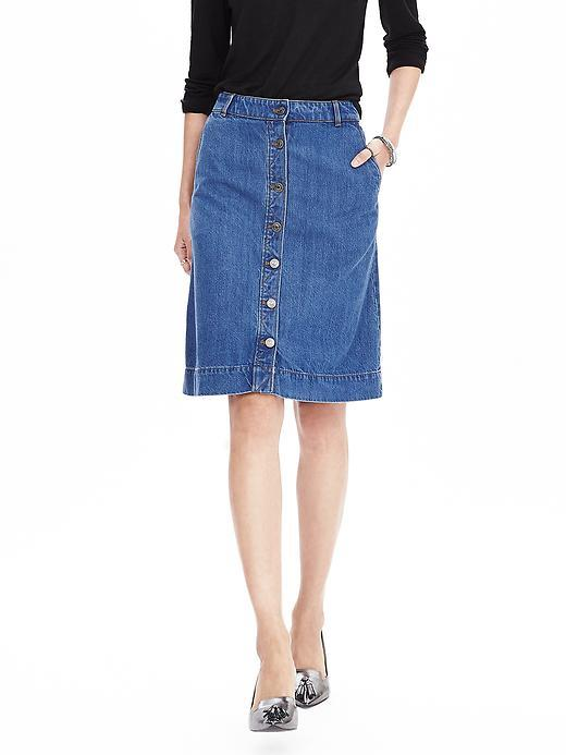 Button Front Denim Skirt Natural Denim - pattern: plain; fit: loose/voluminous; waist: mid/regular rise; predominant colour: denim; occasions: casual, creative work; length: on the knee; style: a-line; fibres: cotton - stretch; texture group: denim; pattern type: fabric; season: a/w 2015; wardrobe: basic