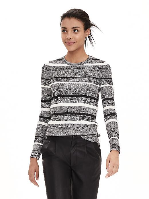 Marled Stripe Crew Pullover Gray - pattern: horizontal stripes; style: standard; secondary colour: white; predominant colour: mid grey; occasions: casual, creative work; length: standard; fit: standard fit; neckline: crew; sleeve length: long sleeve; sleeve style: standard; texture group: knits/crochet; pattern type: knitted - fine stitch; pattern size: standard; fibres: viscose/rayon - mix; season: a/w 2015; wardrobe: highlight