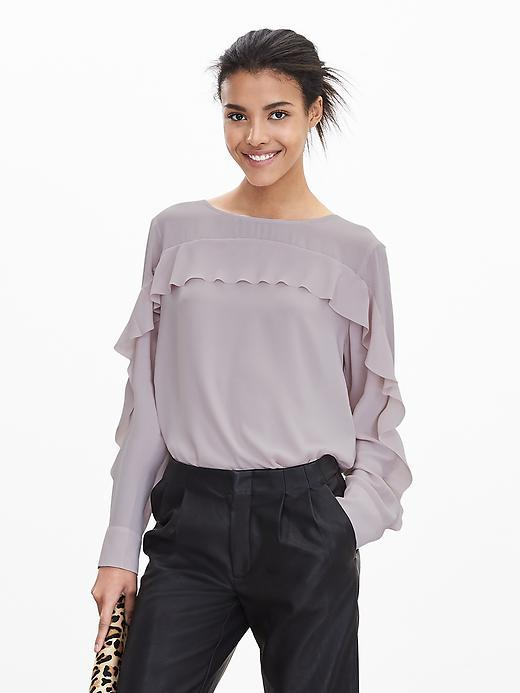 Ruffle Front Blouse Pink Bubbles - pattern: plain; style: blouse; predominant colour: light grey; occasions: evening; length: standard; fibres: polyester/polyamide - 100%; fit: body skimming; neckline: crew; sleeve length: long sleeve; sleeve style: standard; texture group: sheer fabrics/chiffon/organza etc.; bust detail: bulky details at bust; pattern type: fabric; season: a/w 2015; wardrobe: event