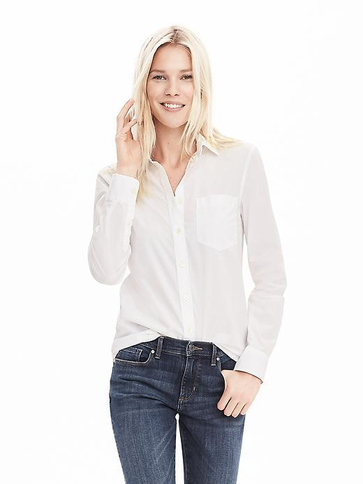 Classic Fit One Pocket Shirt White - neckline: shirt collar/peter pan/zip with opening; pattern: plain; style: shirt; predominant colour: white; occasions: casual, creative work; length: standard; fibres: cotton - 100%; fit: body skimming; sleeve length: long sleeve; sleeve style: standard; texture group: cotton feel fabrics; pattern type: fabric; season: a/w 2015; wardrobe: basic; embellishment location: bust