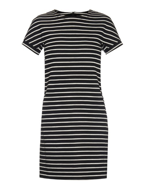 Luca Dress - style: shift; pattern: horizontal stripes; predominant colour: white; secondary colour: black; occasions: casual, creative work; length: just above the knee; fit: soft a-line; fibres: cotton - mix; neckline: crew; sleeve length: short sleeve; sleeve style: standard; pattern type: fabric; pattern size: standard; texture group: jersey - stretchy/drapey; season: a/w 2015