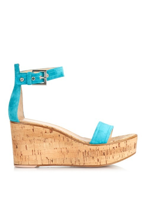 Ankle Strap Suede Wedge Sandals - secondary colour: turquoise; predominant colour: camel; occasions: casual; material: suede; heel height: high; ankle detail: ankle strap; heel: wedge; toe: open toe/peeptoe; style: standard; finish: plain; pattern: colourblock; shoe detail: platform; season: a/w 2015; wardrobe: highlight