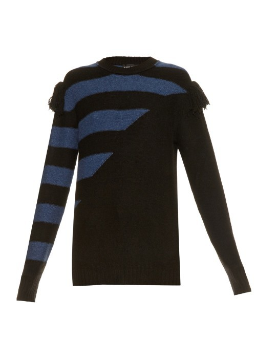Bi Colour Intarsia Cashmere Knit Sweater - pattern: striped; style: standard; secondary colour: denim; predominant colour: black; occasions: casual, creative work; length: standard; fit: slim fit; neckline: crew; fibres: cashmere - 100%; sleeve length: long sleeve; sleeve style: standard; texture group: knits/crochet; pattern type: knitted - other; pattern size: standard; embellishment: fringing; season: a/w 2015