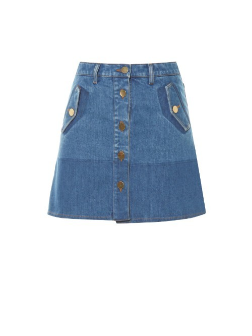 Button Down Denim Mini Skirt - length: mini; pattern: plain; fit: loose/voluminous; waist: mid/regular rise; predominant colour: denim; occasions: casual, creative work; style: a-line; fibres: cotton - stretch; texture group: denim; pattern type: fabric; season: a/w 2015