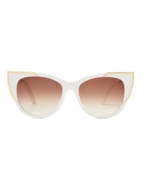 Butterscotchy Cat Eye Frame Sunglasses - predominant colour: white; secondary colour: gold; occasions: casual, holiday; style: cateye; size: standard; material: plastic/rubber; pattern: plain; finish: plain; season: a/w 2015; wardrobe: basic