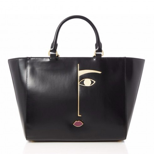 Dora Face Polished Leather Cesca Tote - predominant colour: black; occasions: casual, creative work; type of pattern: light; style: tote; length: handle; size: oversized; material: leather; pattern: plain; finish: plain; season: a/w 2015; wardrobe: investment