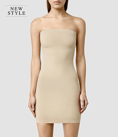 Bri Slip Dress - length: mini; neckline: strapless (straight/sweetheart); fit: tight; pattern: plain; sleeve style: strapless; style: bodycon; predominant colour: nude; occasions: evening; fibres: viscose/rayon - stretch; sleeve length: sleeveless; texture group: jersey - clingy; pattern type: fabric; season: a/w 2015; wardrobe: event