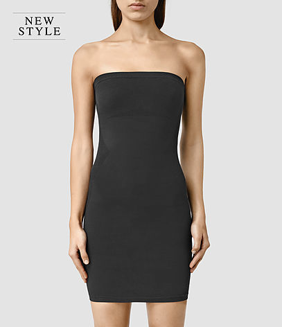 Bri Slip Dress - length: mid thigh; neckline: strapless (straight/sweetheart); fit: tight; pattern: plain; sleeve style: strapless; style: bodycon; predominant colour: black; occasions: evening; fibres: cotton - stretch; sleeve length: sleeveless; texture group: jersey - clingy; pattern type: fabric; season: a/w 2015; wardrobe: event
