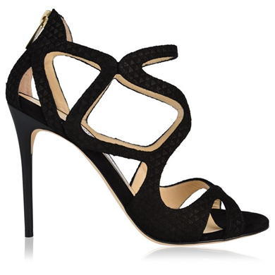 Leslie Strappy Heels - predominant colour: black; occasions: evening, occasion; material: suede; heel: stiletto; toe: open toe/peeptoe; style: strappy; finish: plain; pattern: plain; heel height: very high; season: a/w 2015; wardrobe: event