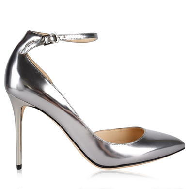 Lucy Heels - predominant colour: silver; occasions: evening, occasion; material: leather; heel height: high; ankle detail: ankle strap; heel: stiletto; toe: pointed toe; style: courts; finish: metallic; pattern: plain; season: a/w 2015; wardrobe: event