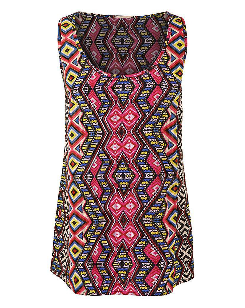 Tribal Print Woven Vest - sleeve style: sleeveless; style: vest top; predominant colour: hot pink; secondary colour: yellow; occasions: casual; length: standard; neckline: scoop; fibres: polyester/polyamide - 100%; fit: body skimming; sleeve length: sleeveless; pattern type: fabric; pattern: patterned/print; texture group: jersey - stretchy/drapey; multicoloured: multicoloured; season: a/w 2015