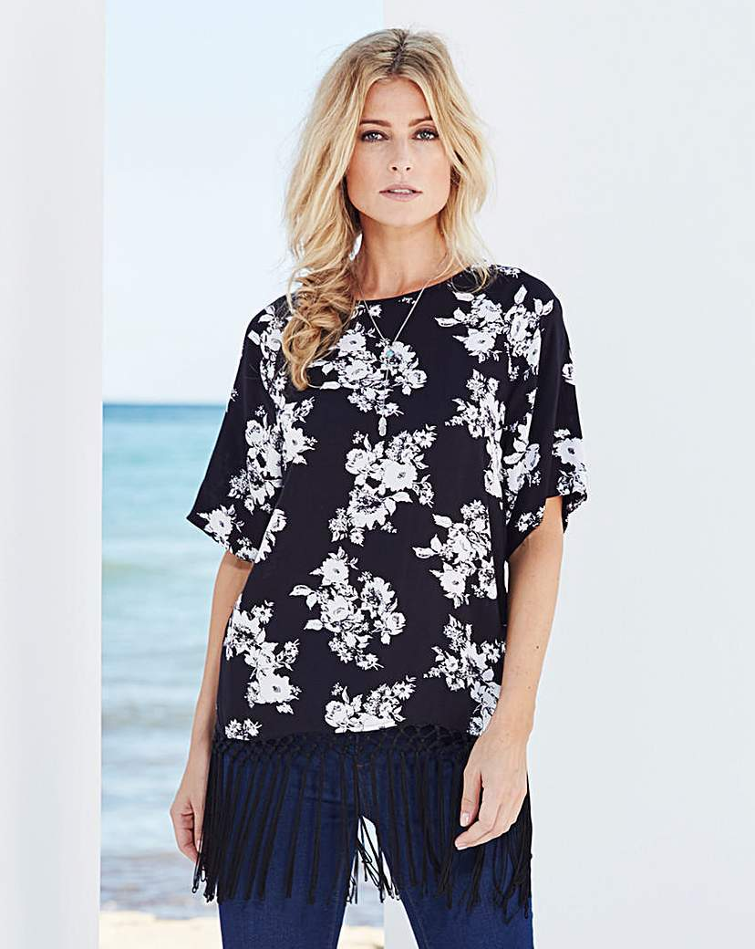 Black Print Fringe Hem Top - neckline: round neck; pattern: plain; length: below the bottom; predominant colour: navy; occasions: casual, creative work; style: top; fibres: polyester/polyamide - 100%; fit: loose; hip detail: added detail/embellishment at hip; sleeve length: short sleeve; sleeve style: standard; trends: monochrome; pattern type: fabric; texture group: other - light to midweight; embellishment: fringing; pattern size: big & busy (top); season: a/w 2015