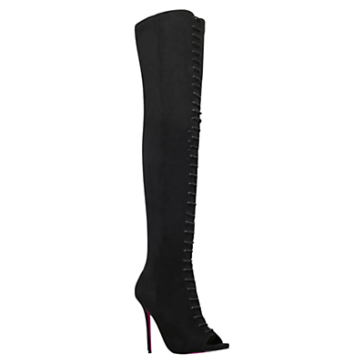 Glenda Lace Up Over The Knee Boots, Black - predominant colour: black; material: suede; heel height: high; heel: stiletto; toe: open toe/peeptoe; boot length: over the knee; style: standard; finish: plain; pattern: plain; occasions: creative work; season: a/w 2015; wardrobe: investment