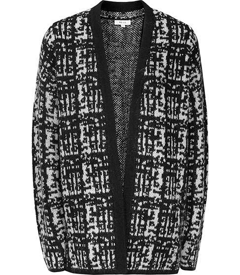 Nico Patterned Cardigan - sleeve style: dolman/batwing; neckline: collarless open; style: open front; secondary colour: light grey; predominant colour: black; occasions: casual, creative work; fibres: wool - mix; fit: standard fit; length: mid thigh; sleeve length: long sleeve; texture group: knits/crochet; pattern type: knitted - fine stitch; pattern size: standard; pattern: patterned/print; season: a/w 2015
