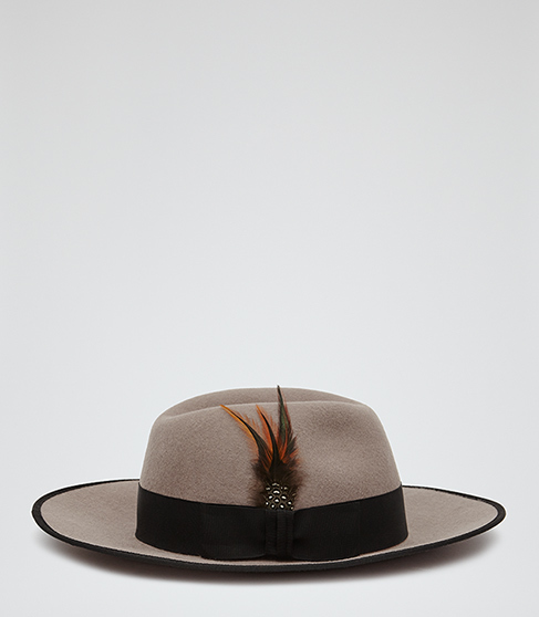 Salma Christys Fedora - predominant colour: taupe; secondary colour: black; occasions: casual; type of pattern: light; embellishment: ribbon; style: fedora; size: large; material: felt; pattern: colourblock; season: a/w 2015; wardrobe: highlight