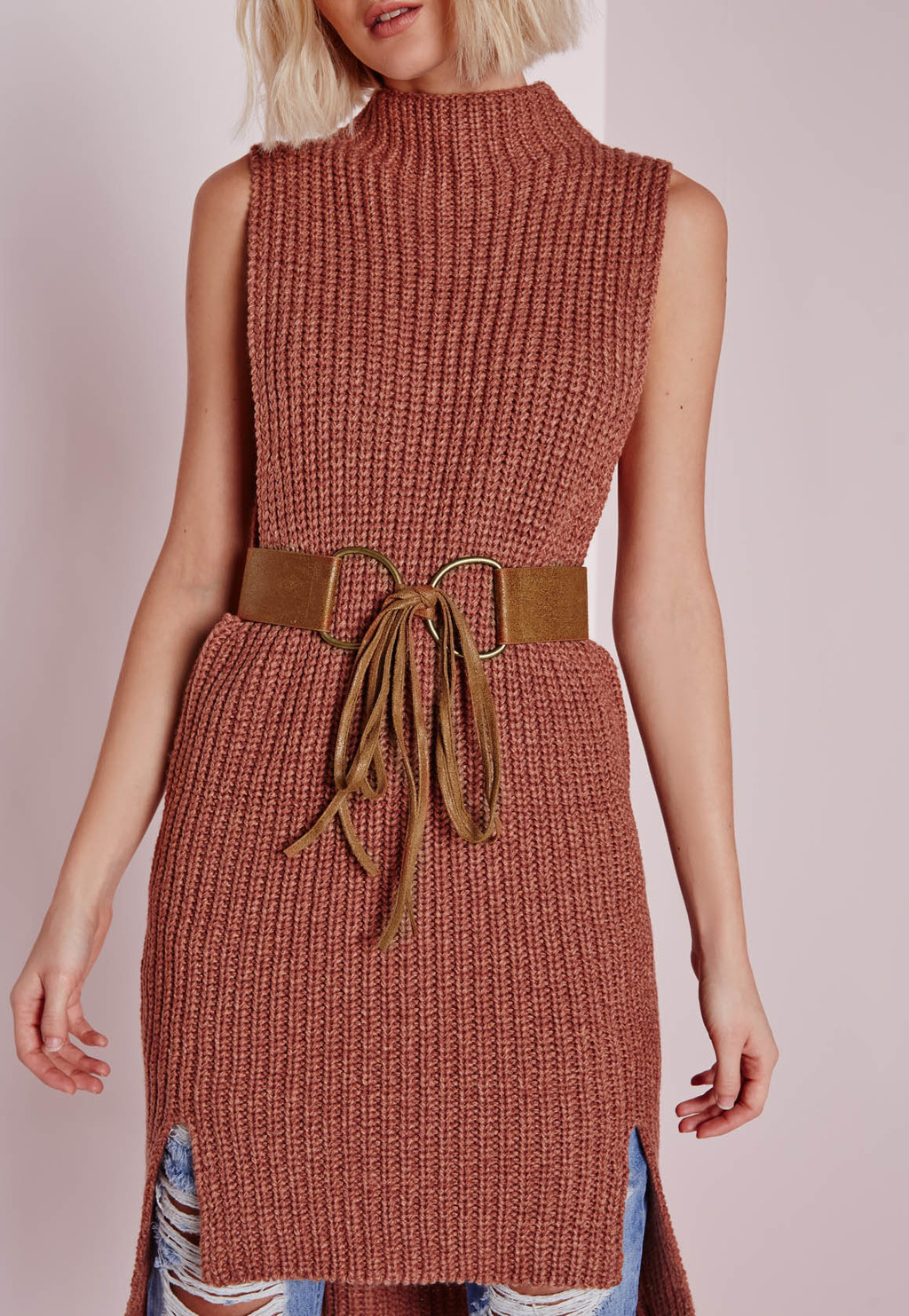 Double Ring Tie Belt Tan, Brown - predominant colour: tan; occasions: casual, creative work; type of pattern: standard; style: classic; size: oversized; worn on: waist; material: fabric; pattern: plain; finish: plain; season: a/w 2015