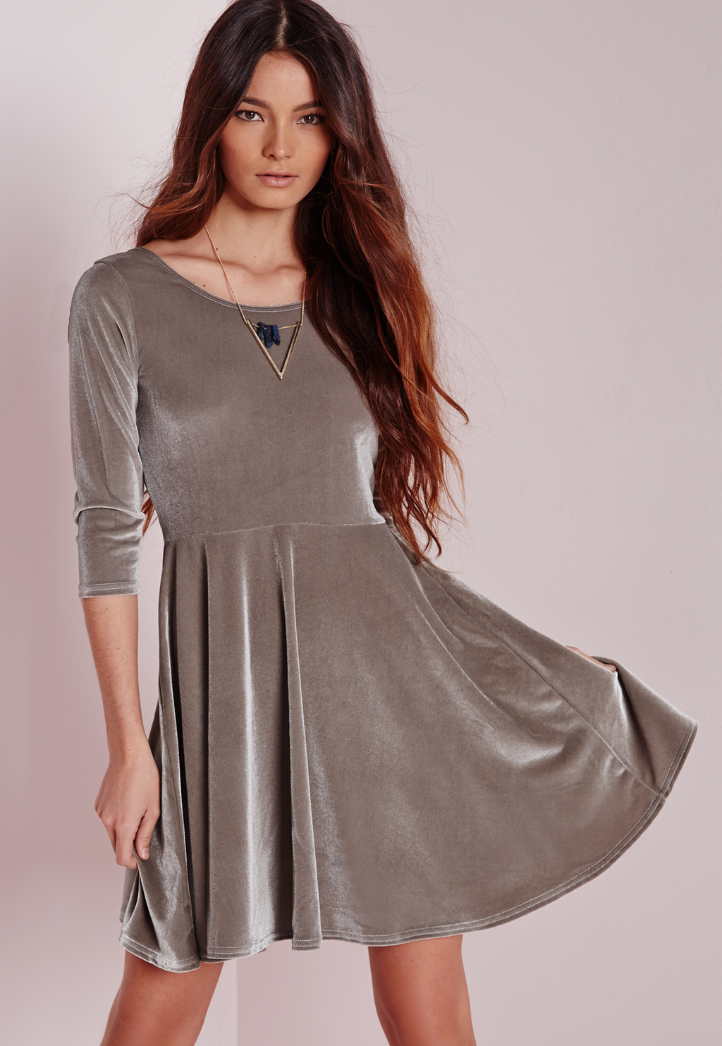 3/4 Sleeve Velvet Skater Dress Grey, Grey - neckline: round neck; pattern: plain; predominant colour: mid grey; occasions: evening, occasion, creative work; length: just above the knee; fit: fitted at waist & bust; style: fit & flare; fibres: polyester/polyamide - mix; sleeve length: 3/4 length; sleeve style: standard; pattern type: fabric; texture group: velvet/fabrics with pile; season: a/w 2015; wardrobe: highlight