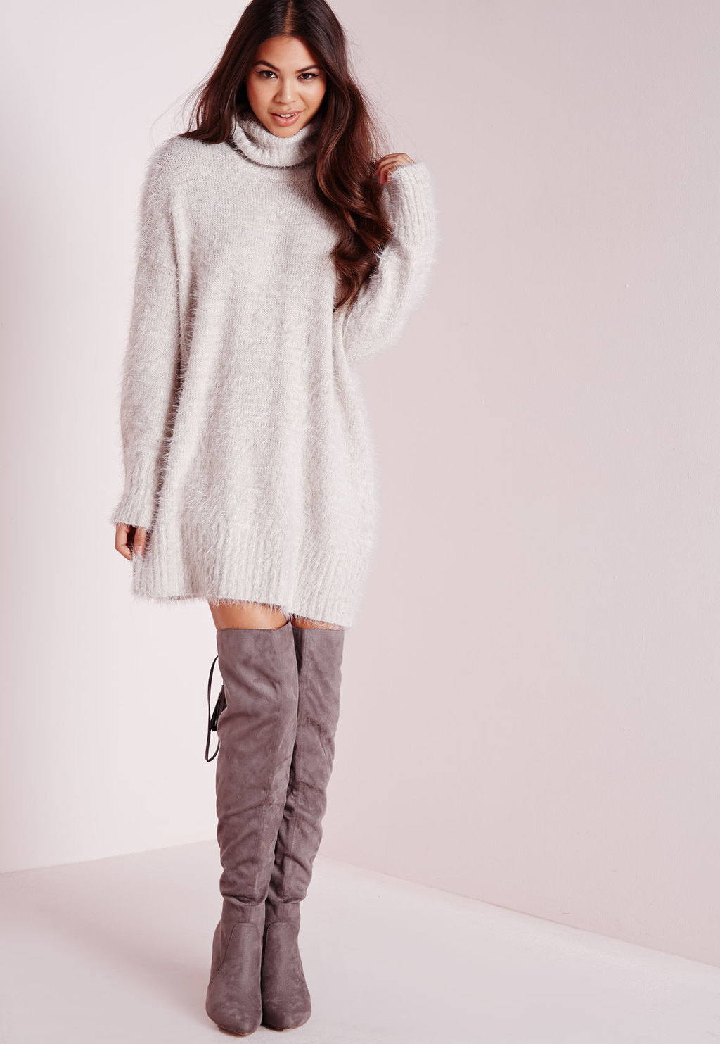 Tall Fluffy Roll Neck Jumper Dress Grey, Grey - style: jumper dress; length: mid thigh; fit: loose; pattern: plain; neckline: roll neck; predominant colour: light grey; occasions: casual, creative work; fibres: polyester/polyamide - mix; sleeve length: long sleeve; sleeve style: standard; texture group: knits/crochet; pattern type: knitted - other; season: a/w 2015; wardrobe: basic