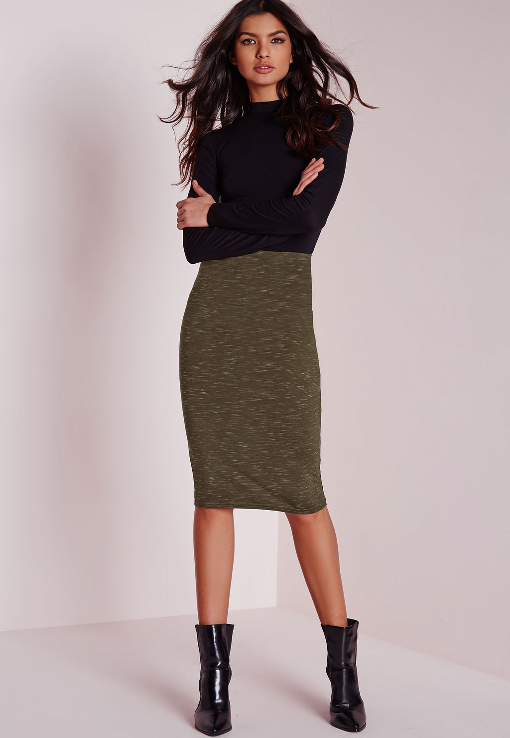 Slub Jersey Midi Skirt Khaki, Beige - length: below the knee; fit: tight; waist: high rise; hip detail: draws attention to hips; predominant colour: khaki; occasions: evening; fibres: polyester/polyamide - stretch; style: tube; texture group: jersey - clingy; pattern type: fabric; pattern: marl; season: a/w 2015; wardrobe: event