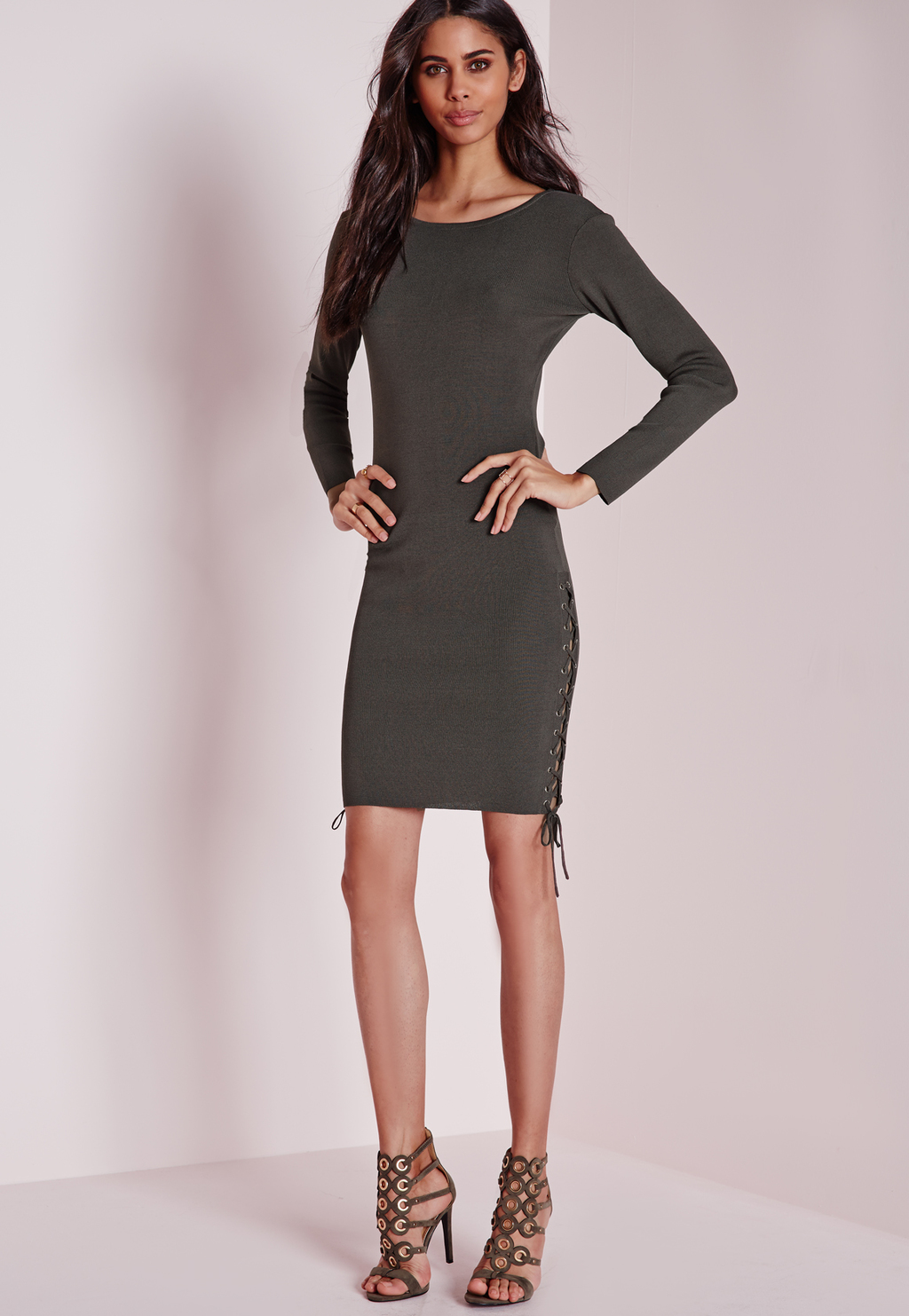 Lace Up Side Mini Dress Grey, Grey - style: shift; neckline: round neck; pattern: plain; predominant colour: charcoal; occasions: casual, evening, occasion; length: just above the knee; fit: body skimming; fibres: viscose/rayon - stretch; sleeve length: long sleeve; sleeve style: standard; pattern type: fabric; texture group: jersey - stretchy/drapey; season: a/w 2015; wardrobe: basic