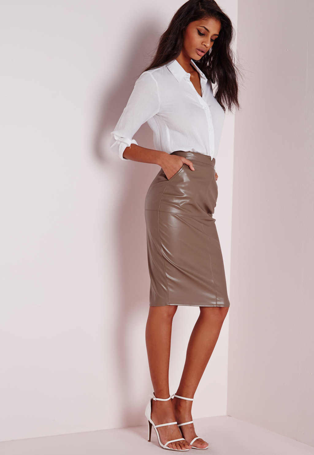 Tall Back Split Faux Leather Midi Skirt Taupe, Grey - pattern: plain; style: pencil; fit: tailored/fitted; waist: high rise; predominant colour: taupe; occasions: evening; length: on the knee; fibres: polyester/polyamide - mix; texture group: leather; pattern type: fabric; season: a/w 2015; wardrobe: event