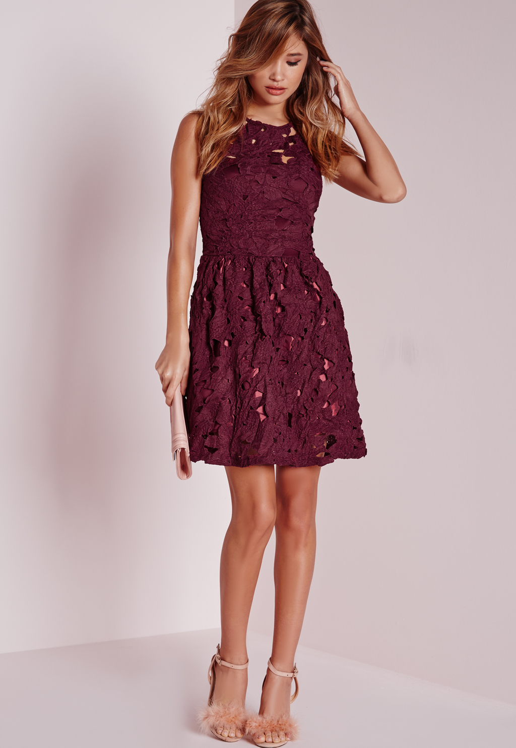 Sleeveless Lace Skater Dress Plum, Purple - length: mid thigh; neckline: round neck; sleeve style: sleeveless; predominant colour: purple; occasions: evening, occasion; fit: fitted at waist & bust; style: fit & flare; fibres: polyester/polyamide - stretch; sleeve length: sleeveless; texture group: lace; pattern type: fabric; pattern size: light/subtle; pattern: patterned/print; season: a/w 2015; wardrobe: event