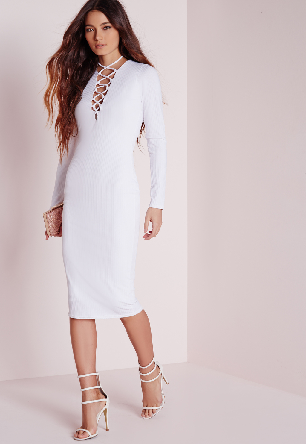 Ribbed Long Sleeve Lace Up Midi Dress White, White - style: shift; length: below the knee; neckline: v-neck; pattern: plain; predominant colour: white; occasions: evening, occasion; fit: body skimming; fibres: polyester/polyamide - stretch; sleeve length: long sleeve; sleeve style: standard; pattern type: fabric; texture group: other - stretchy; season: a/w 2015