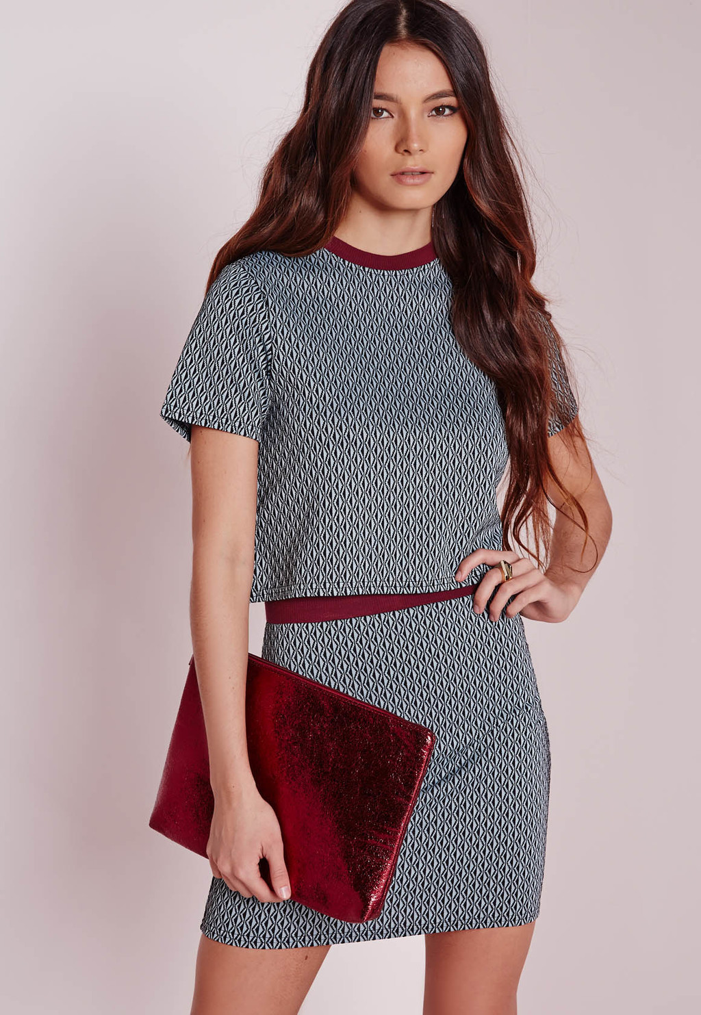 Jacquard Short Sleeve Crop Top, Blue - length: cropped; style: t-shirt; secondary colour: burgundy; predominant colour: mid grey; occasions: casual, evening; fibres: polyester/polyamide - mix; fit: straight cut; neckline: crew; sleeve length: short sleeve; sleeve style: standard; pattern type: fabric; pattern size: standard; pattern: patterned/print; texture group: woven light midweight; season: a/w 2015; wardrobe: highlight