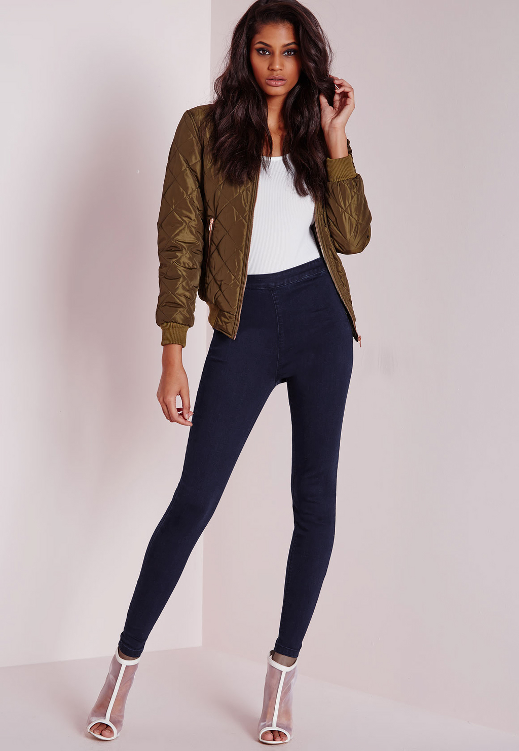 Tall Highwaist Jeans Blue, Blue - style: skinny leg; length: standard; pattern: plain; waist: high rise; predominant colour: navy; occasions: casual; fibres: cotton - stretch; jeans detail: dark wash; texture group: denim; pattern type: fabric; season: a/w 2015; wardrobe: basic