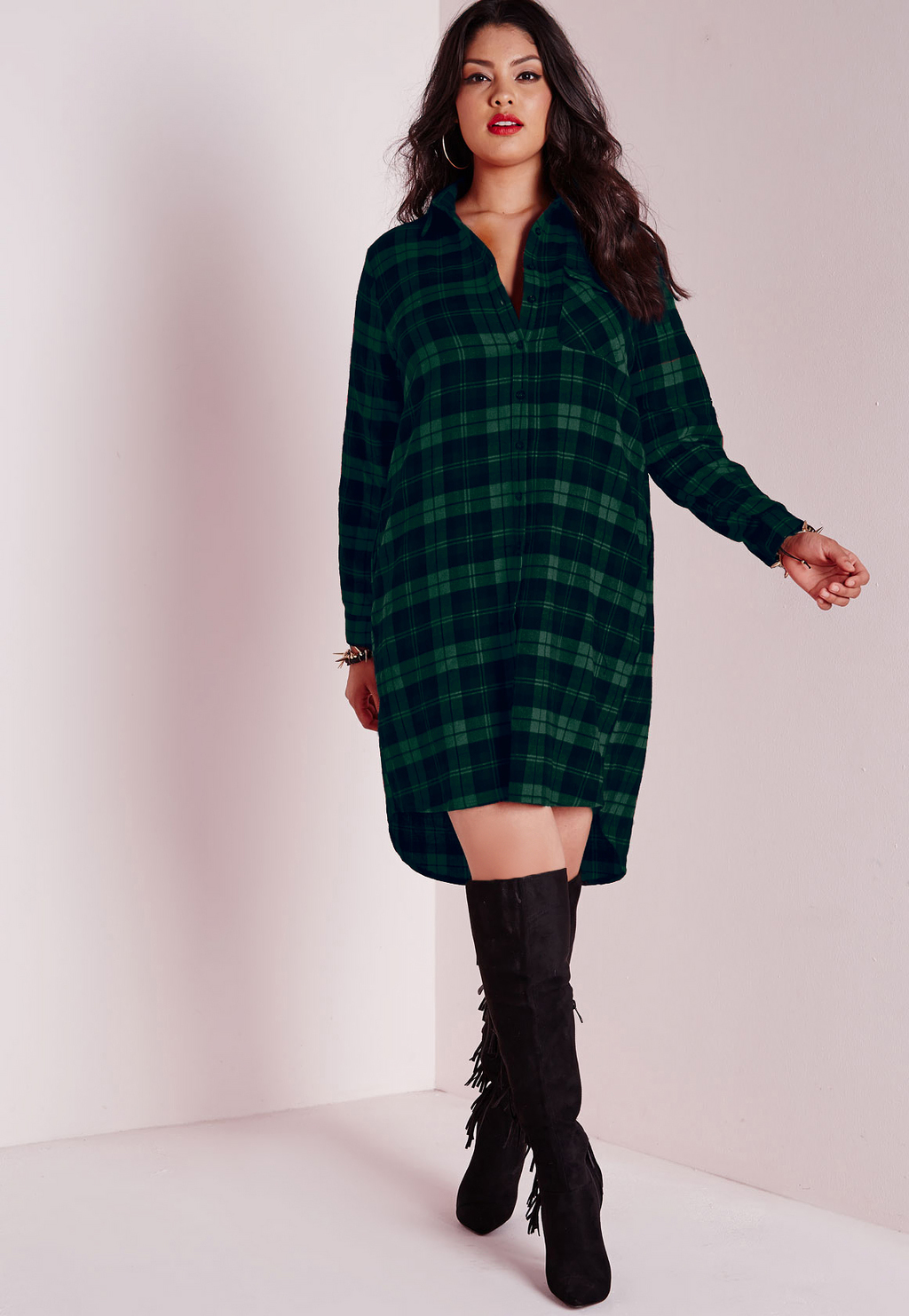 Plus Size Checked Shirt Dress Green, Green - style: shirt; length: mid thigh; neckline: shirt collar/peter pan/zip with opening; fit: loose; pattern: checked/gingham; bust detail: buttons at bust (in middle at breastbone)/zip detail at bust; secondary colour: navy; predominant colour: dark green; occasions: casual, creative work; fibres: viscose/rayon - 100%; sleeve length: long sleeve; sleeve style: standard; texture group: cotton feel fabrics; pattern type: fabric; pattern size: big & busy; season: a/w 2015; wardrobe: highlight