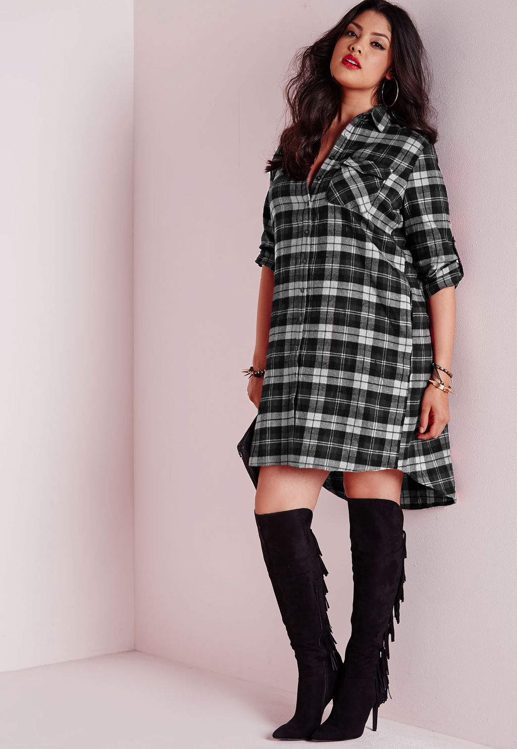 Plus Size Checked Shirt Dress Black, Black - style: shirt; length: mid thigh; neckline: shirt collar/peter pan/zip with opening; fit: loose; pattern: checked/gingham; secondary colour: white; predominant colour: black; occasions: casual; fibres: cotton - mix; sleeve length: long sleeve; sleeve style: standard; trends: monochrome; texture group: cotton feel fabrics; pattern type: fabric; pattern size: standard; multicoloured: multicoloured; season: a/w 2015; wardrobe: highlight