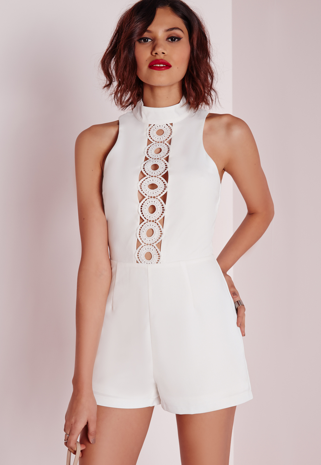 Circle Lace Panel High Neck Playsuit White, White - fit: tailored/fitted; sleeve style: sleeveless; neckline: high neck; length: short shorts; predominant colour: white; occasions: evening; fibres: polyester/polyamide - 100%; sleeve length: sleeveless; texture group: lace; style: playsuit; pattern type: fabric; pattern: patterned/print; embellishment: lace; season: a/w 2015; wardrobe: event