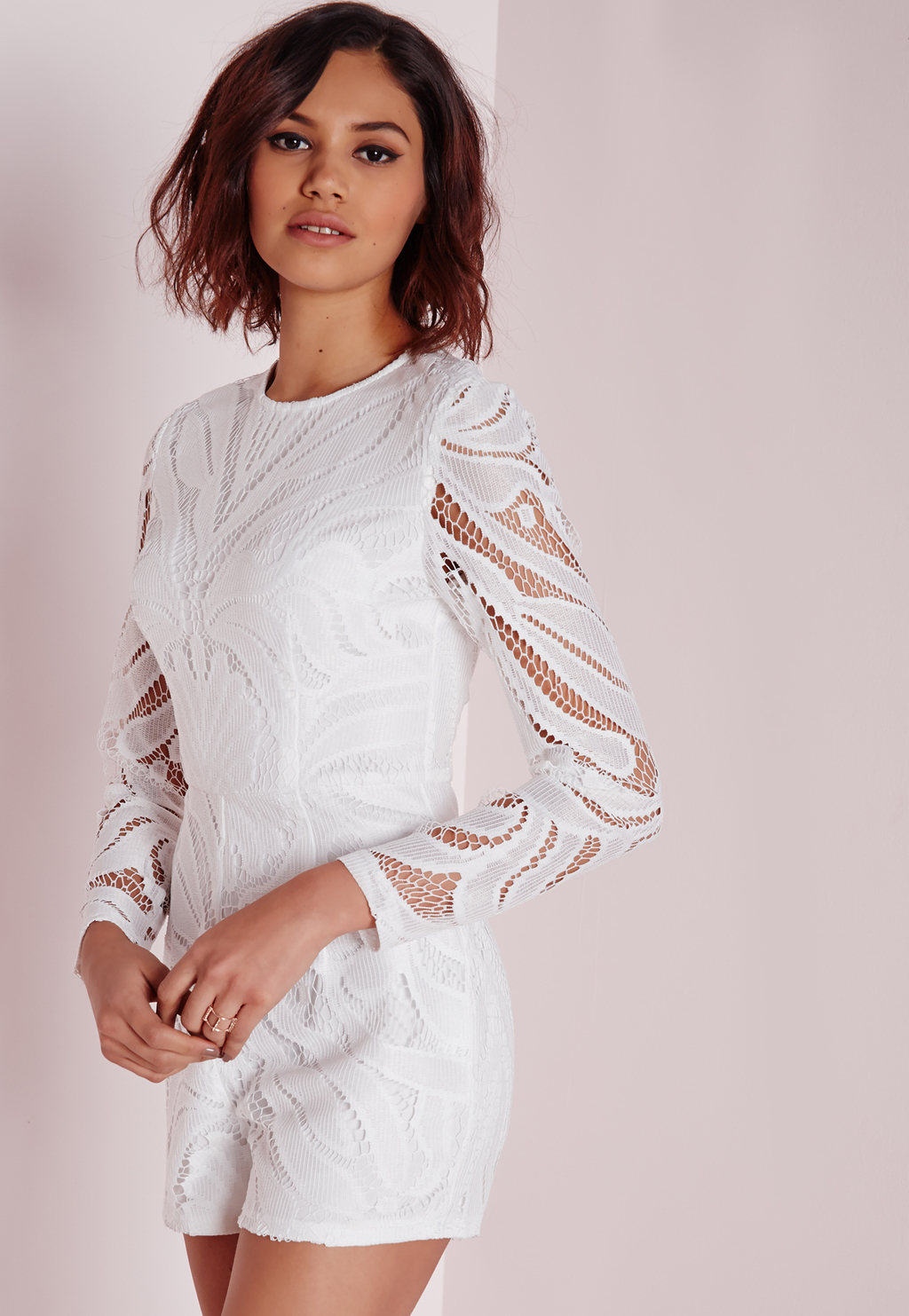 Long Sleeve Lace Playsuit White, White - fit: tailored/fitted; length: short shorts; predominant colour: white; occasions: evening; fibres: polyester/polyamide - 100%; neckline: crew; sleeve length: long sleeve; sleeve style: standard; texture group: lace; style: playsuit; pattern type: fabric; pattern: patterned/print; embellishment: lace; season: a/w 2015; wardrobe: event; embellishment location: bust