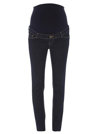 Womens **Maternity Indigo Authentic Over The Bump Jeans Indigo - style: skinny leg; length: standard; pattern: plain; waist: low rise; pocket detail: traditional 5 pocket; predominant colour: navy; occasions: casual; fibres: cotton - stretch; jeans detail: dark wash; texture group: denim; pattern type: fabric; season: a/w 2015; wardrobe: basic