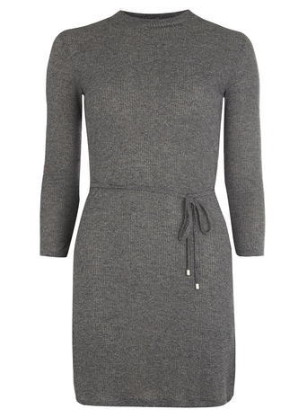 Womens Charcoal Mock Neck Rib Tunic Grey - pattern: plain; style: tunic; waist detail: belted waist/tie at waist/drawstring; predominant colour: charcoal; occasions: casual; fibres: polyester/polyamide - stretch; fit: body skimming; neckline: crew; length: mid thigh; sleeve length: 3/4 length; sleeve style: standard; texture group: knits/crochet; pattern type: knitted - fine stitch; season: a/w 2015; wardrobe: basic