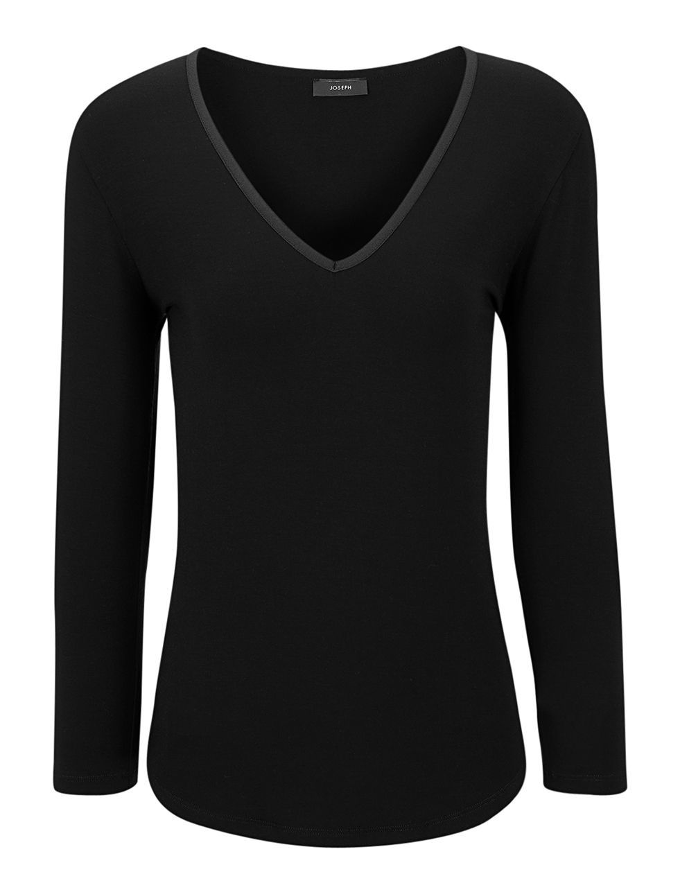 Viscose Stretch V Neck Tee In Black - neckline: low v-neck; pattern: plain; style: t-shirt; predominant colour: black; occasions: casual; length: standard; fibres: polyester/polyamide - stretch; fit: body skimming; sleeve length: long sleeve; sleeve style: standard; pattern type: fabric; texture group: jersey - stretchy/drapey; season: a/w 2015