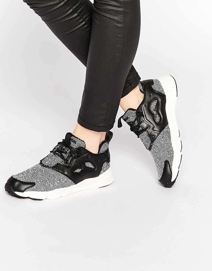 Furylite Holiday Herringbone Trainers Black - secondary colour: light grey; predominant colour: black; occasions: casual; material: fabric; heel height: flat; toe: round toe; style: trainers; finish: plain; pattern: colourblock; shoe detail: moulded soul; season: a/w 2015