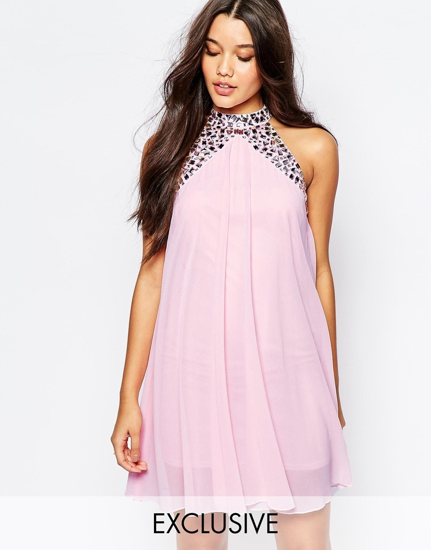 Embellished High Neck Babydoll Swing Dress Dusky Pink - style: smock; length: mid thigh; fit: loose; pattern: plain; sleeve style: sleeveless; neckline: high neck; predominant colour: blush; secondary colour: lilac; occasions: evening; fibres: polyester/polyamide - 100%; hip detail: soft pleats at hip/draping at hip/flared at hip; sleeve length: sleeveless; texture group: sheer fabrics/chiffon/organza etc.; pattern type: fabric; embellishment: jewels/stone; season: a/w 2015