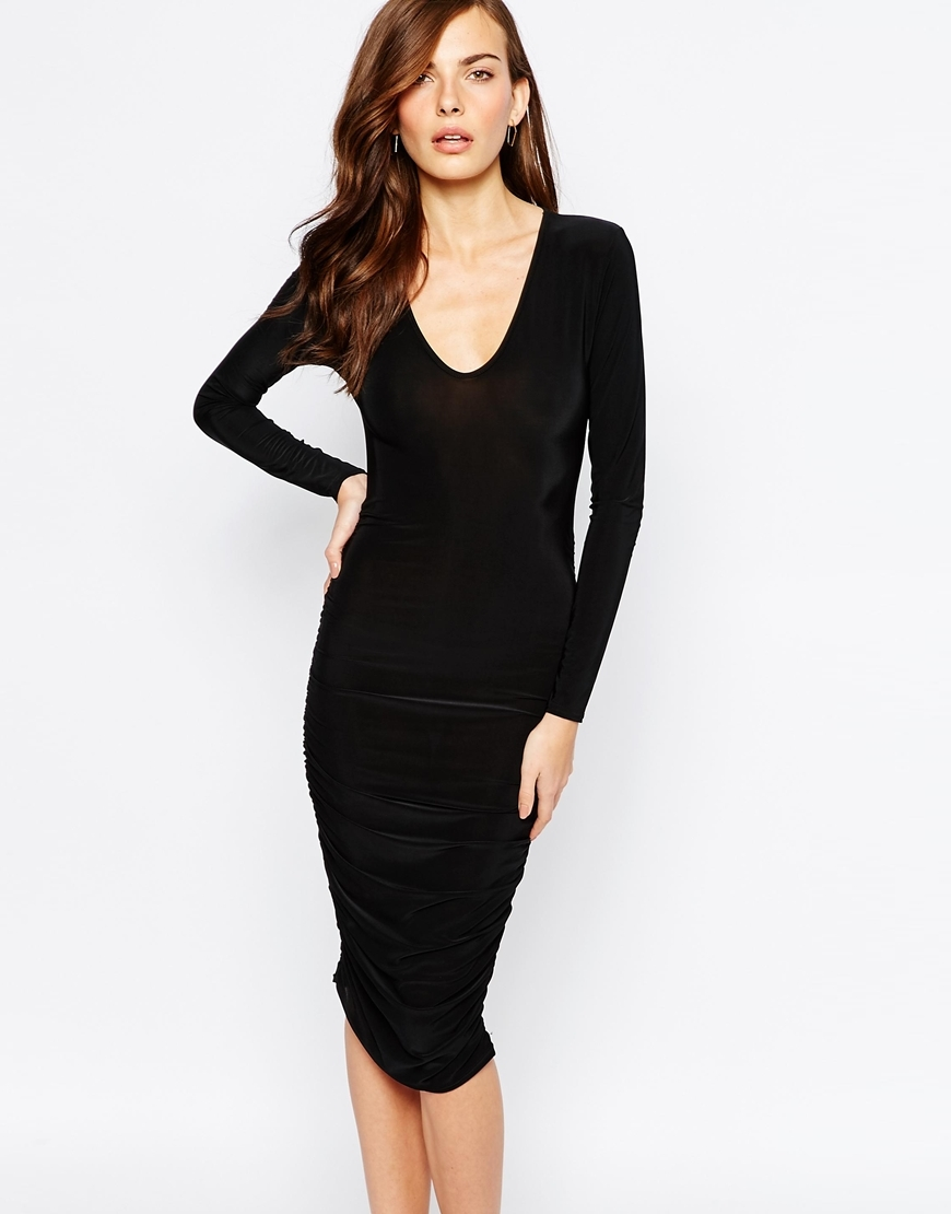 Essentials Plunge Neck Midi Dress With Ruching In Slinky Black - length: below the knee; neckline: v-neck; fit: tight; pattern: plain; style: bodycon; predominant colour: black; occasions: evening; fibres: polyester/polyamide - stretch; sleeve length: long sleeve; sleeve style: standard; texture group: jersey - clingy; pattern type: fabric; season: a/w 2015