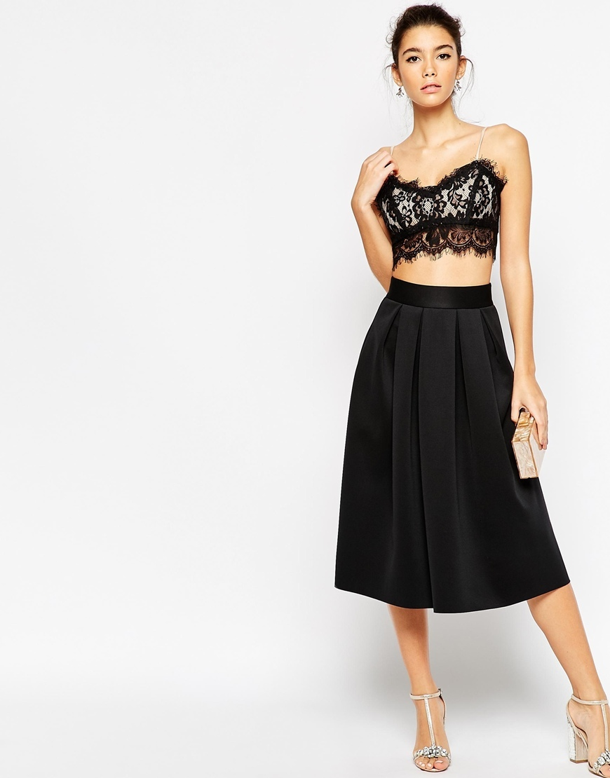 Midi Prom Skirt In Scuba Black - length: below the knee; pattern: plain; style: full/prom skirt; fit: loose/voluminous; waist detail: fitted waist; waist: high rise; predominant colour: black; occasions: evening, work, occasion; fibres: polyester/polyamide - stretch; hip detail: soft pleats at hip/draping at hip/flared at hip; pattern type: fabric; texture group: other - light to midweight; season: a/w 2015; wardrobe: basic