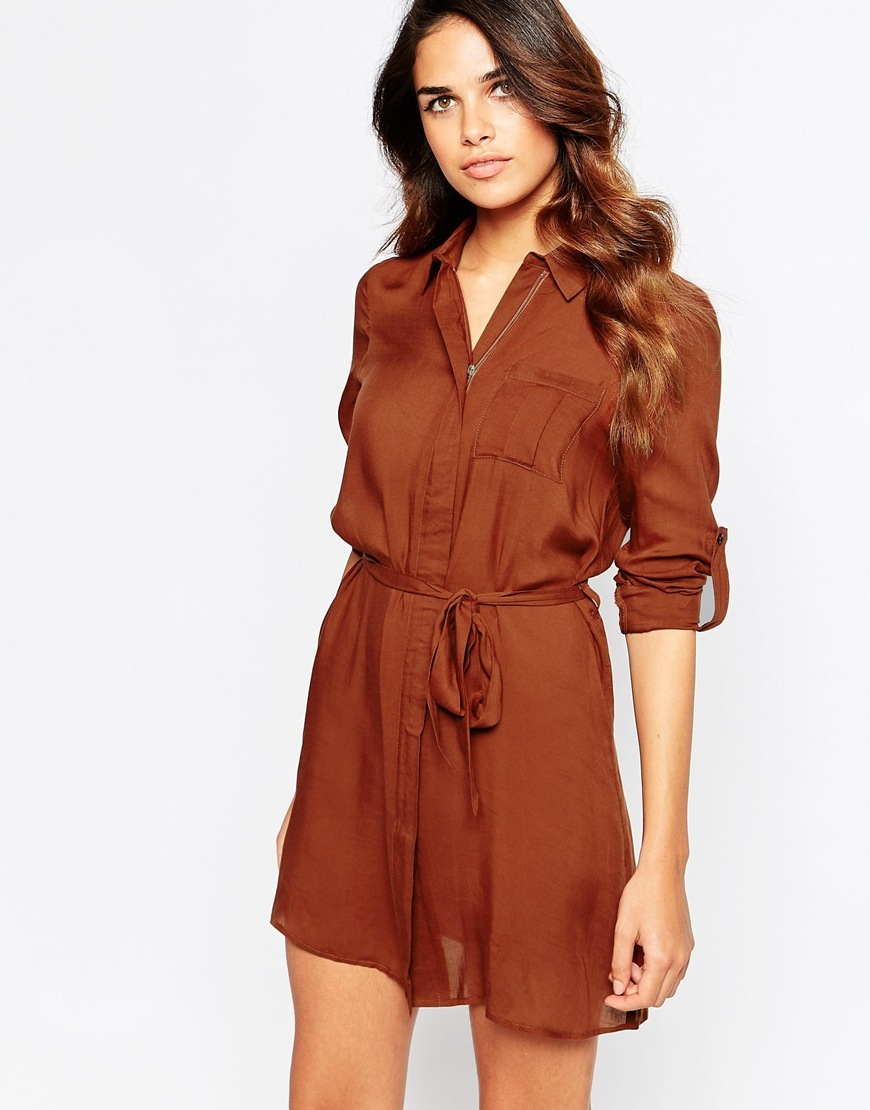 Relaxed Shirt Dress Tobacco - style: shirt; length: mini; neckline: shirt collar/peter pan/zip with opening; pattern: plain; waist detail: belted waist/tie at waist/drawstring; predominant colour: chocolate brown; occasions: casual; fit: body skimming; fibres: polyester/polyamide - 100%; sleeve length: long sleeve; sleeve style: standard; bust detail: bulky details at bust; pattern type: fabric; texture group: other - light to midweight; season: a/w 2015; wardrobe: basic