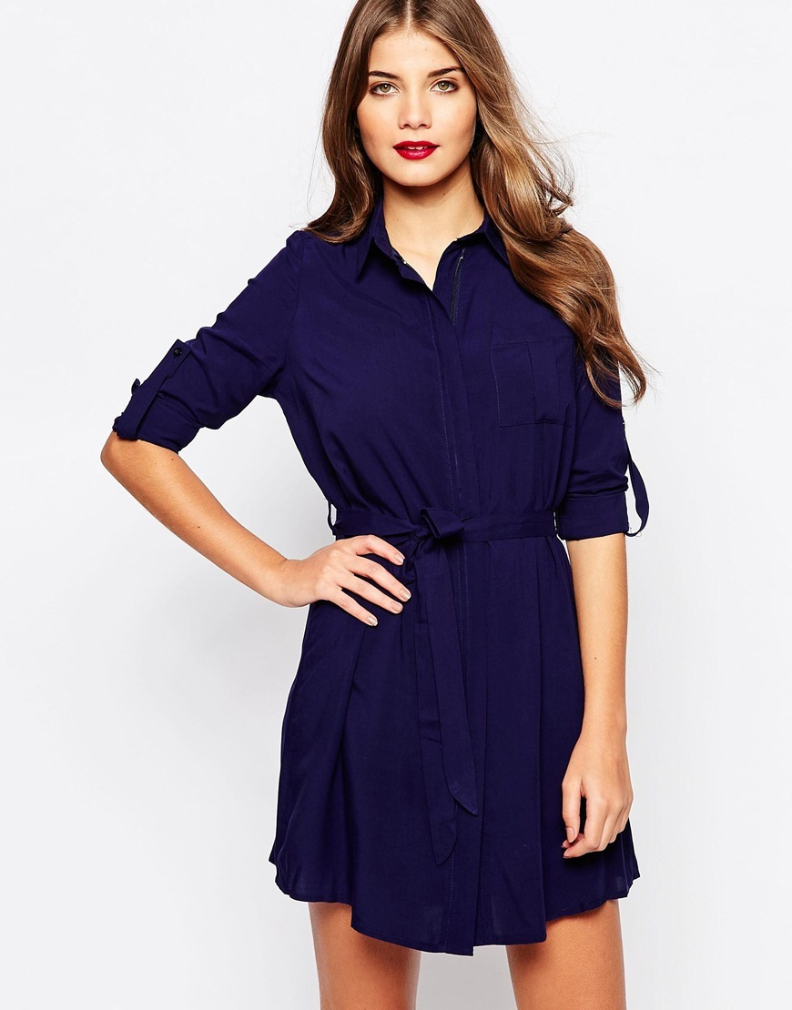 Relaxed Shirt Dress Navy - style: shirt; length: mid thigh; neckline: shirt collar/peter pan/zip with opening; pattern: plain; waist detail: belted waist/tie at waist/drawstring; predominant colour: navy; occasions: casual; fit: body skimming; fibres: polyester/polyamide - 100%; sleeve length: long sleeve; sleeve style: standard; texture group: crepes; pattern type: fabric; season: a/w 2015; wardrobe: basic