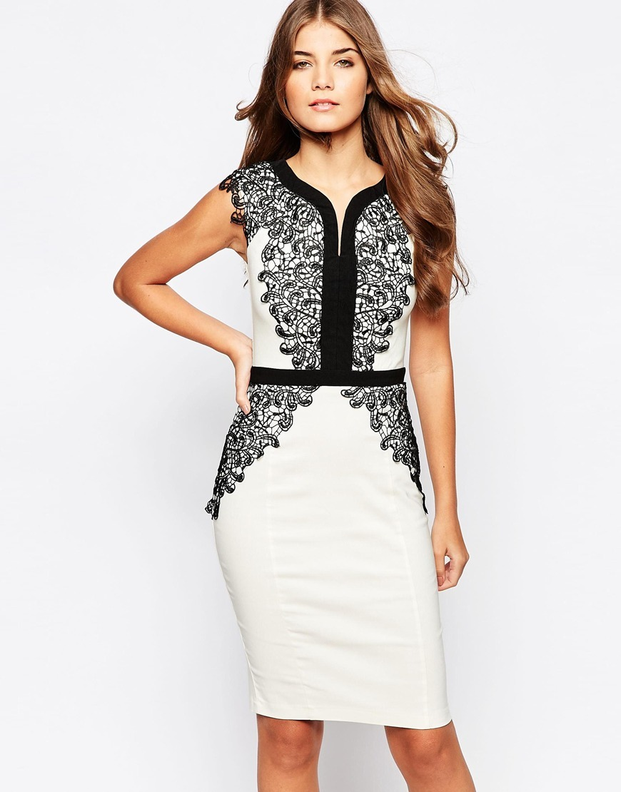 Pencil Dress With Lace Contrast Black/Cream - neckline: low v-neck; fit: tight; pattern: plain; sleeve style: sleeveless; style: bodycon; bust detail: added detail/embellishment at bust; waist detail: embellishment at waist/feature waistband; hip detail: fitted at hip; predominant colour: white; secondary colour: black; occasions: evening, occasion; length: just above the knee; fibres: polyester/polyamide - stretch; sleeve length: sleeveless; trends: monochrome; texture group: jersey - clingy; pattern type: fabric; season: a/w 2015