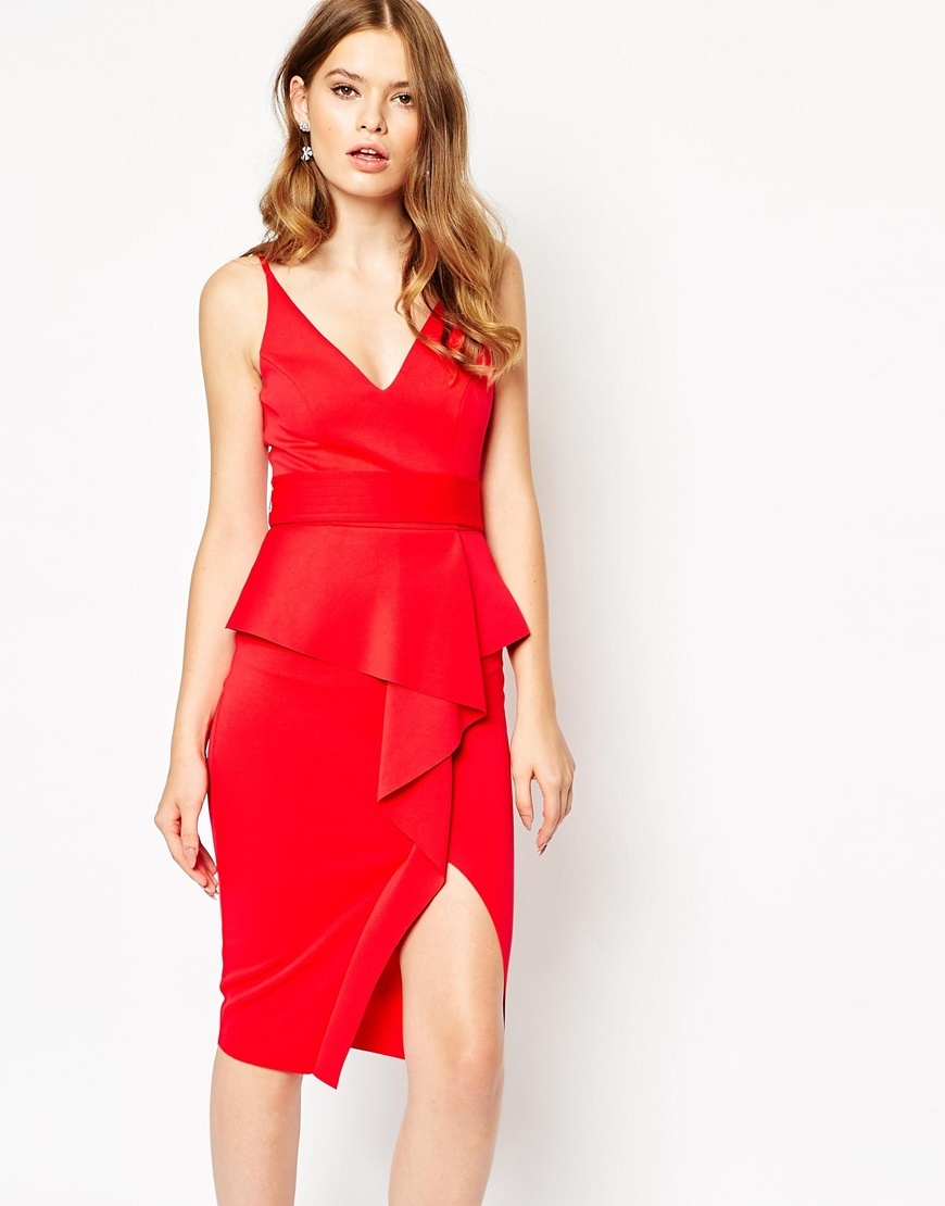 Soft Peplum Wrap Cami With Stitch Detail Belt Dress Red - style: shift; neckline: low v-neck; pattern: plain; sleeve style: sleeveless; predominant colour: true red; occasions: evening; length: on the knee; fit: fitted at waist & bust; fibres: polyester/polyamide - 100%; hip detail: subtle/flattering hip detail; sleeve length: sleeveless; pattern type: fabric; texture group: jersey - stretchy/drapey; season: a/w 2015; wardrobe: event
