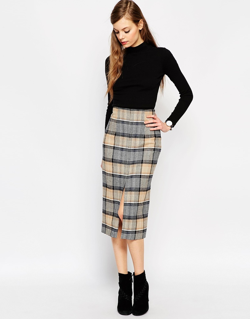 Premium Wool Pencil Skirt In Check Beige Check - length: below the knee; pattern: checked/gingham; style: pencil; fit: tailored/fitted; waist: high rise; secondary colour: stone; predominant colour: mid grey; occasions: evening, creative work; fibres: wool - mix; hip detail: slits at hip; pattern type: fabric; texture group: woven light midweight; pattern size: standard (bottom); season: a/w 2015; wardrobe: highlight