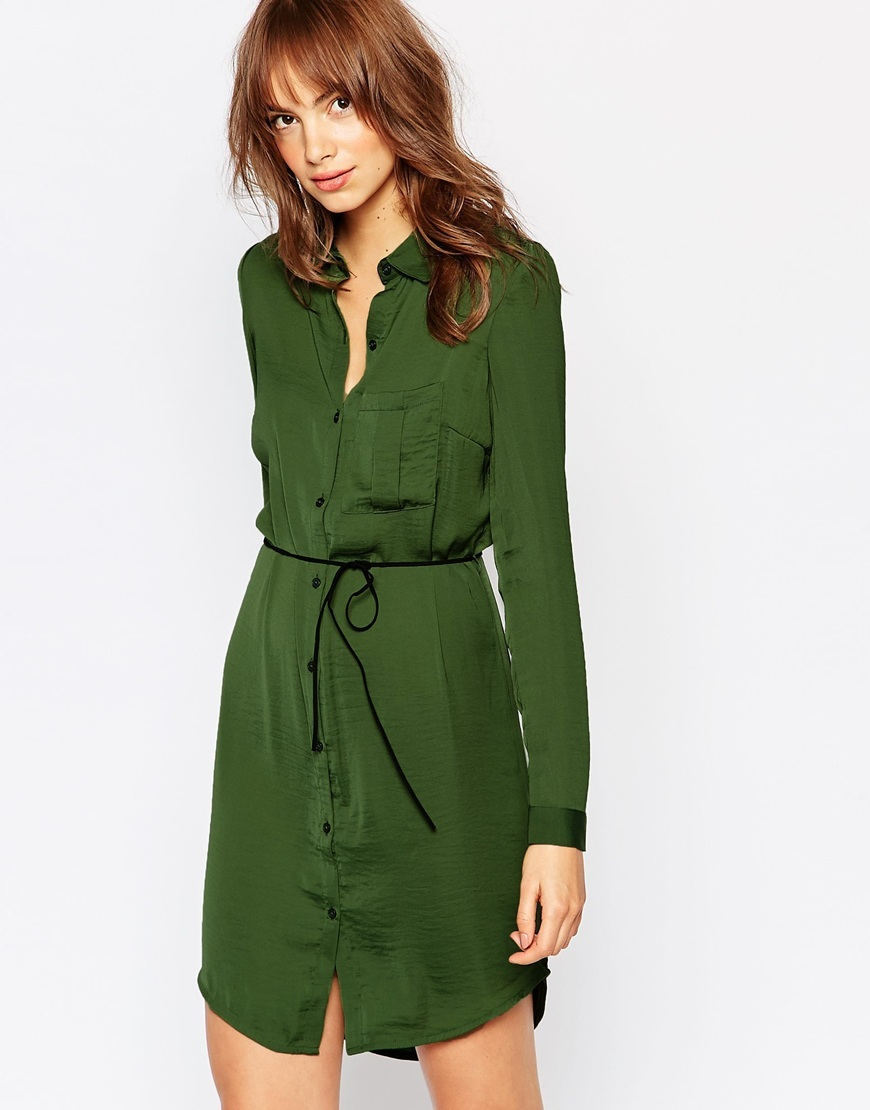 Tie Waist Shirt Dress Green - style: shirt; length: mid thigh; neckline: shirt collar/peter pan/zip with opening; pattern: plain; waist detail: belted waist/tie at waist/drawstring; predominant colour: emerald green; fit: body skimming; fibres: polyester/polyamide - 100%; sleeve length: long sleeve; sleeve style: standard; pattern type: fabric; texture group: other - light to midweight; occasions: creative work; season: a/w 2015; wardrobe: highlight