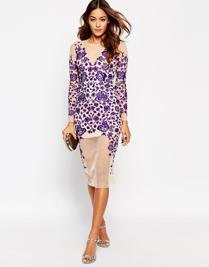Lace Embroidered Ergonomic Midi Bodycon Dress Purple - style: shift; length: below the knee; hip detail: fitted at hip; predominant colour: purple; secondary colour: nude; fit: body skimming; fibres: polyester/polyamide - 100%; occasions: occasion; neckline: crew; sleeve length: long sleeve; sleeve style: standard; pattern type: fabric; pattern size: standard; pattern: patterned/print; texture group: other - light to midweight; season: a/w 2015