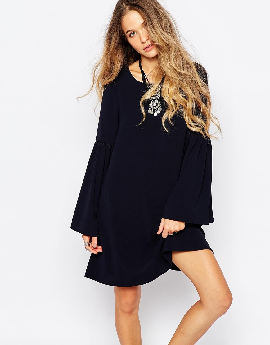 A Line Dress With Bell Sleeve Navy - style: a-line; neckline: round neck; fit: loose; pattern: plain; sleeve style: trumpet; predominant colour: navy; occasions: evening; length: just above the knee; fibres: polyester/polyamide - 100%; sleeve length: long sleeve; pattern type: fabric; texture group: jersey - stretchy/drapey; season: a/w 2015